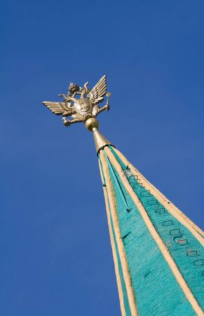 doubleheaded: steeple with imperial double-headed eagle of bell tower Kolomenskoye, Moscow, Russia