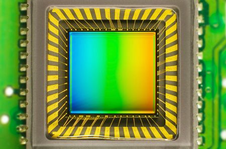 ccd: light sensor on a card of digital camera with coloured interference
