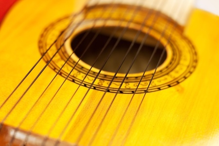 Charango, sound hole of stringed acoustic instrument with 10 strings