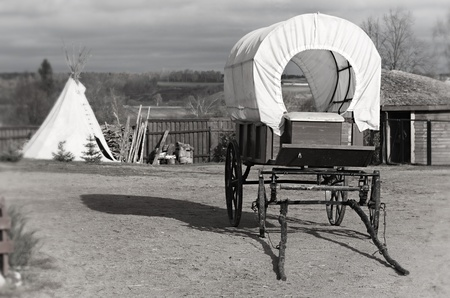 wigwam: Wagon and wigwam, traditional articles of ancient American country