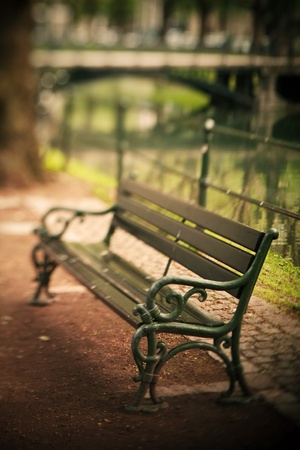 Old bench, selective focus effect of using shift and tilt lens  photo