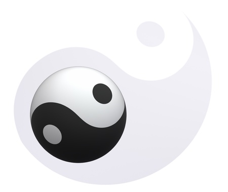 Yin-Yang ball on a floor Yin-Yang photo