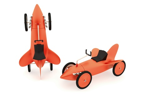 Two red toy rocket car, white space for text  photo