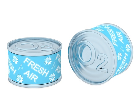 Canned oxygen, two tin, rendered models   Stock Photo - 19425981
