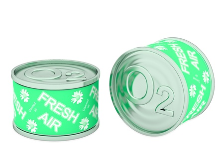 Canned oxygen, two green tins, rendered models Stock Photo - 19426097
