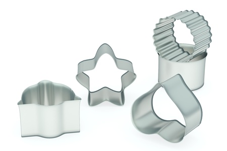 Metal baking form set, various shape, rendered models photo
