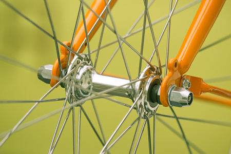 spoke: Bicycle part, front axis, spoke and fork Stock Photo