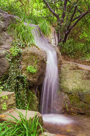 Small park waterfall  among plants, hdr style shot photo