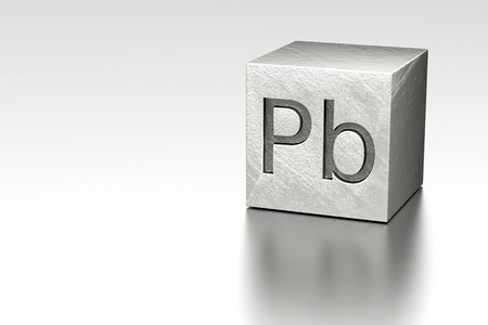 Lead cube with Pb Plumbum mark, rendered model at metal plane Stock Photo