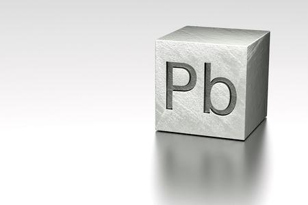 plumbum: Lead cube with Pb Plumbum mark, rendered model at metal plane Stock Photo