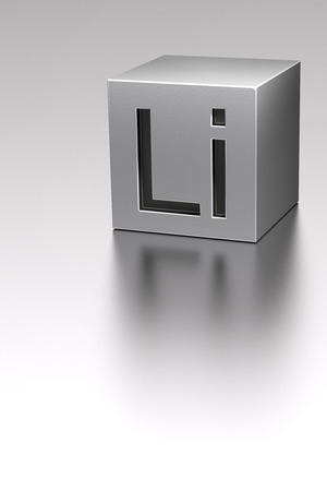 lithium: Lithium cube with Li sign rendered model at metal plane