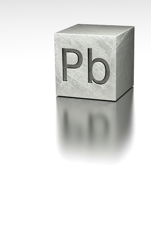 rendered: Lead cube with Plumbum mark, rendered model at metal plane