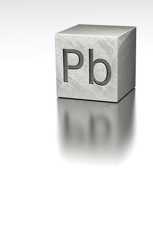 plumbum: Lead cube with Plumbum mark, rendered model at metal plane
