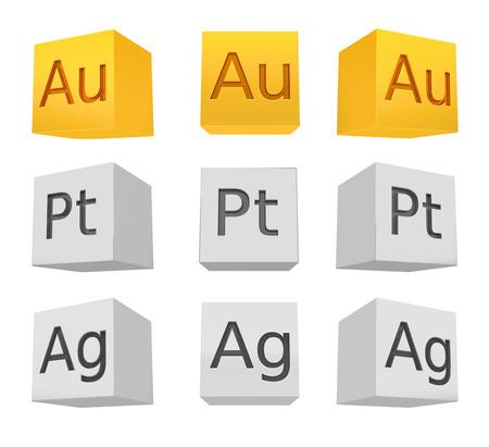 argentum: Noble metal cube set gold silver platinum frontbottom view rendered model