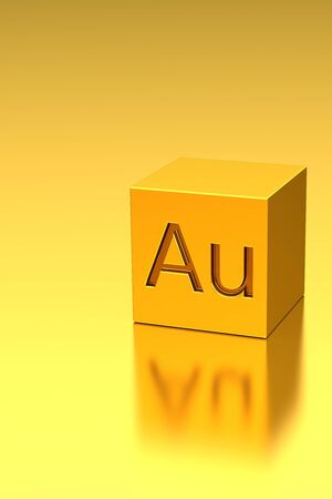 au: Golden cube with Au sign, rendered mode Stock Photo