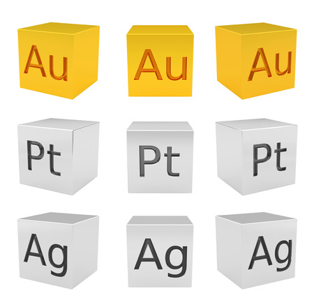 argentum: Noble metal cubes gold, silver, platinum, front-top view, rendered model Stock Photo