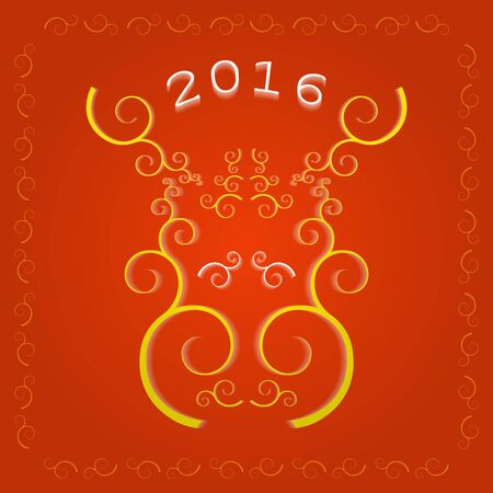 happy holidays: New Year 2016 greeting card, decorative style golden elk muzzle on the red background. Illustration