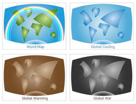 mapas conceptuales: Conjunto de círculo generado mapas conceptuales mundo, ilustran estado normal medio ambiente, la inestabilidad, el peligro de la guerra y el cambio climático.