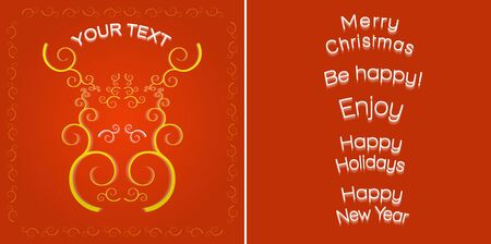 Greeting card template, decorative style golden elk muzzle on the red background and  different congratulation texts.