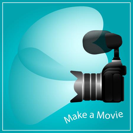 cardioid: Hacer una imagen del concepto de la película, la cámara y el micrófono, con elementos ilustrativos de campo de las lentes de visión y de captación cardioide micrófono patrón