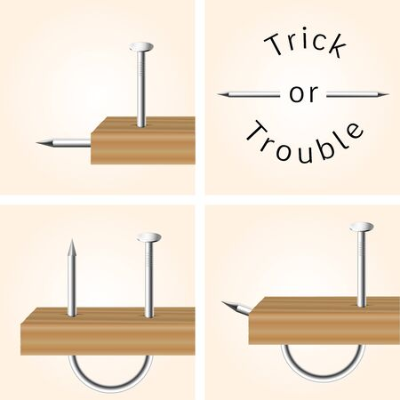 in trouble: Wrong iron nail hammering, concept vector picture, Trick or Trouble. Illustration