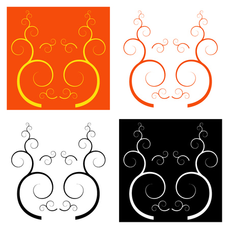 Set of 4 decorative pattern style muzzle pictures.