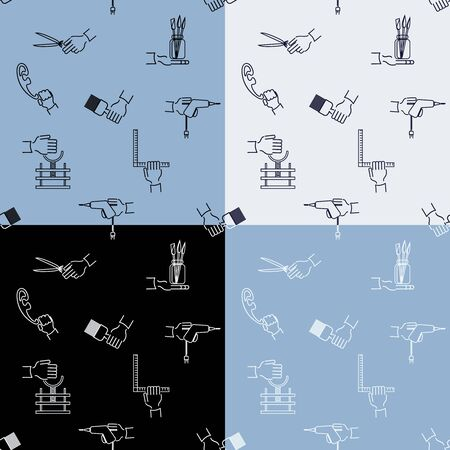 setsquare: Seamless handicraft pattern with tools elements and hands, various color version.