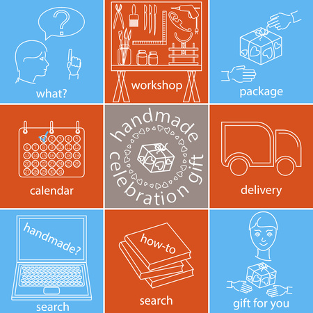 setsquare: Handmade celebration gift icons set, different color version, thin lines style, to illustrates a process of making a present. Illustration