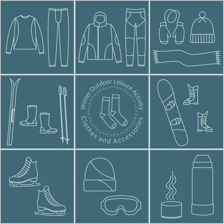 leisure activity: Winter outdoor leisure activity Clothes and Accessories, graphical elements, icons Illustration