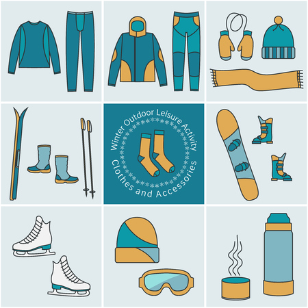 ski wear: Winter outdoor leisure activity Clothes and Accessories, color graphical elements, icons