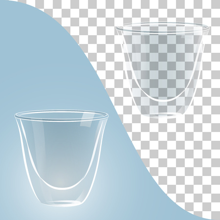 hot couple: Transparent glass cups on blue and transparent background, elements for realistic image design Illustration