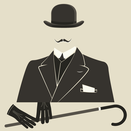 viejo estilo de vestido Hombre invisible en un hongo con guantes y bastón.
