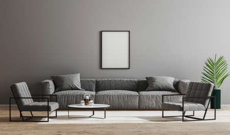 Blank black frames mock up in modern minimalist living room interior with gray sofa, armchairs and coffee table, living room interior background, scandinavian style, modern furnished room, 3d render Archivio Fotografico