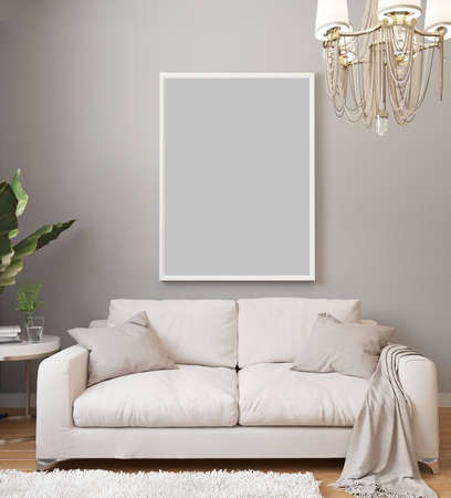 Poster mockup in white frame on light wall in classic luxury interior with chandelier and white sofa, plants. Modern light interior design with blanket picture. 3d rendering. Stockfoto