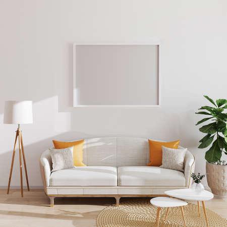 mock up horizontal poster or picture blank frame in modern minimalistic interior background, Scandinavian style, 3D illustration Foto de archivo