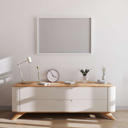 Horizontal frame mockup in modern interior background. Empty frames above white chest of drawers with beautiful decor. Scandinavian style, frame mockup, 3d rendering