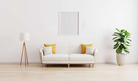 Blank frame in bright modern living room with white sofa, floor lamp and green plant on wooden laminate. Scandinavian style, cozy interior background. Bright stylish room mockup.3d render