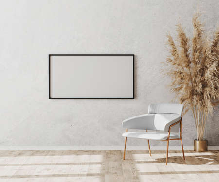 Blank picture frame in bright contemporary empty room interior with luxury white chair on wooden parquet floor and white decorative plaster wall, 3d rendering