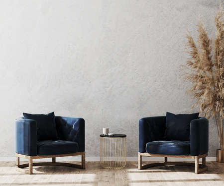 Modern living room interior background mock up, lobby concept, two dark blue stylish armchairs with gold coffee table on wooden floor and gray decorative plaster wall, luxury, 3d rendering