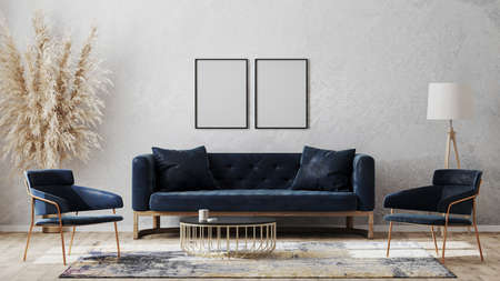 Two blank poster frames on gray wall mockup in modern luxury interior design with dark blue sofa, armchairs near cofee table, fancy rug on wooden floor, 3d rendering Banco de Imagens