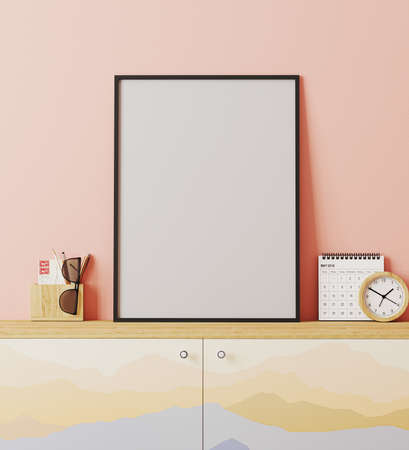 Blank poster frame mockup in modern traveler place style interior with pink wall, cupboard with mountains print, decoration, travel concept, 3d rendering
