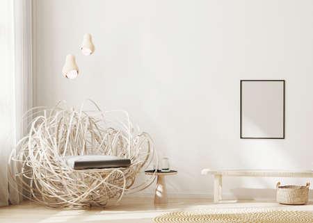 Blank frame mock up in modern interior background, light beige living room with stylish armchair, poster frame mockup, scandinavian style, 3d rendering Banque d'images