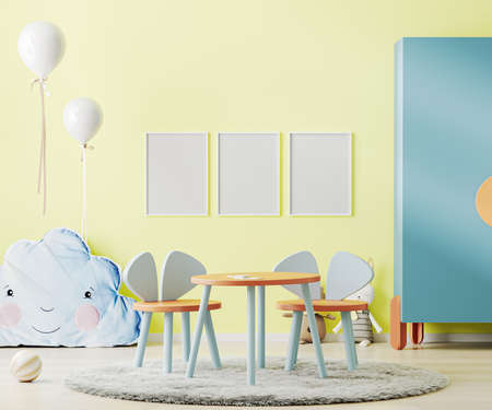 Poster frame mock up in bright yellow child room with table, toys and cupboard, kids room interior mockup, children playroom, 3d rendering