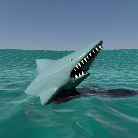 Shark emerges from the water Stock Photo