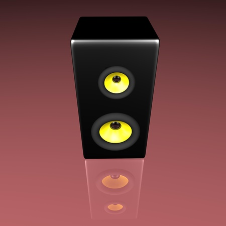 Black speaker with 2 dynamics on red background Stock Photo