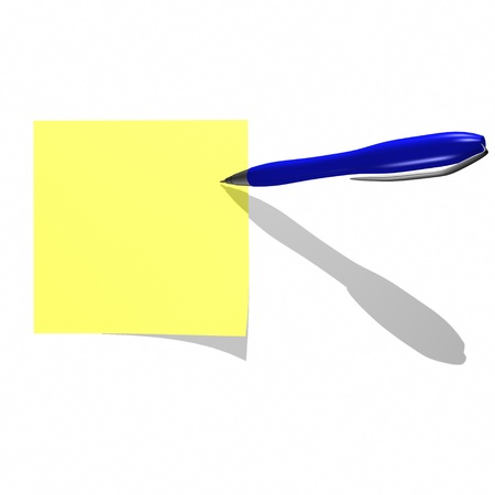 notelet: yelow sticky note with writing pen isolated on white Stock Photo