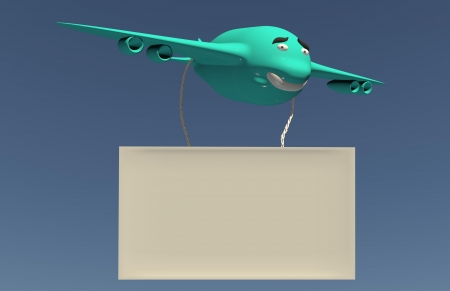 Cartoon smiling airplane with board in the sky Stock Photo - 17167317
