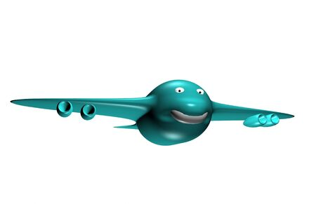 Isolated  smiling 3d blue airplane Stock Photo - 17204188