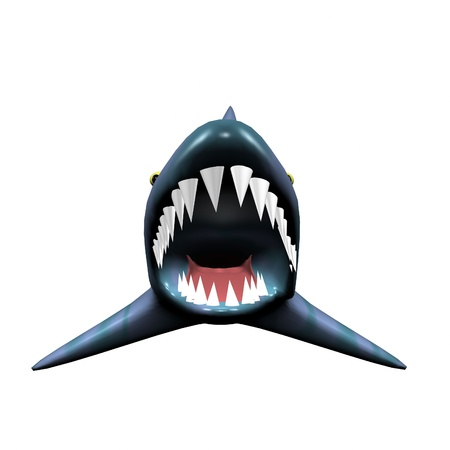 3d angry shark with big scary jaw photo