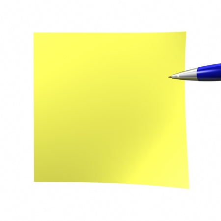 notelet: yelow empty sticky note isolated on white Stock Photo